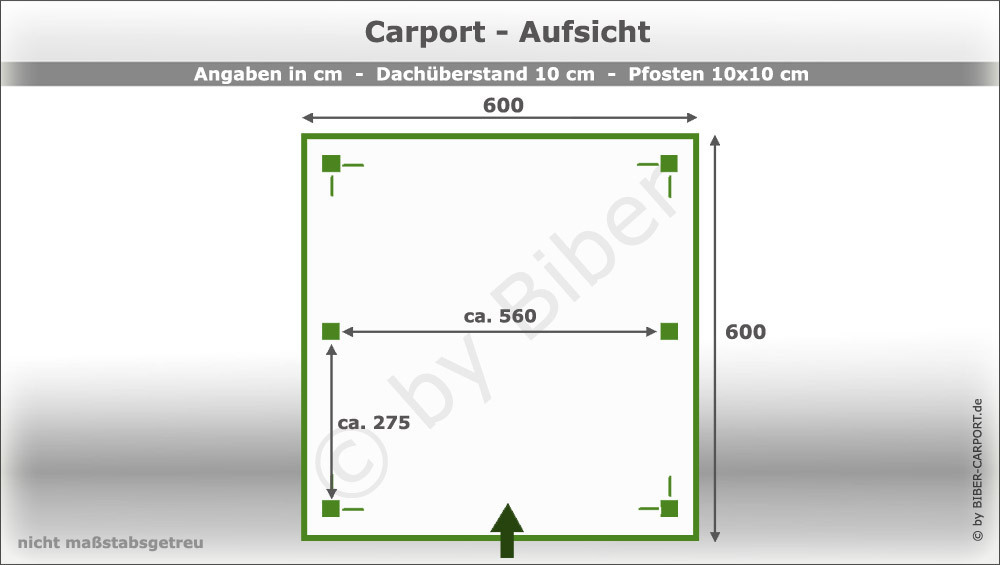 bausatz 6 0 x 6 0m flachdachcarport mit epdm. Black Bedroom Furniture Sets. Home Design Ideas