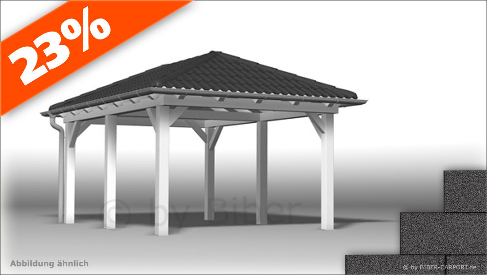 bausatz 3 0 x 6 5m walmdach carport mit bitumenschindeln. Black Bedroom Furniture Sets. Home Design Ideas