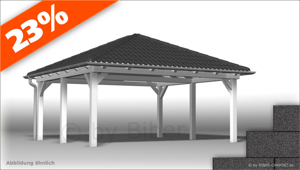 bausatz 4 5 x 6 5m walmdach carport mit bitumenschindeln. Black Bedroom Furniture Sets. Home Design Ideas