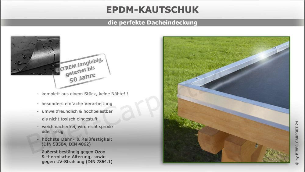 epdm folie f r carport garage kautschuk eindeckung in verschiedenen gr en. Black Bedroom Furniture Sets. Home Design Ideas