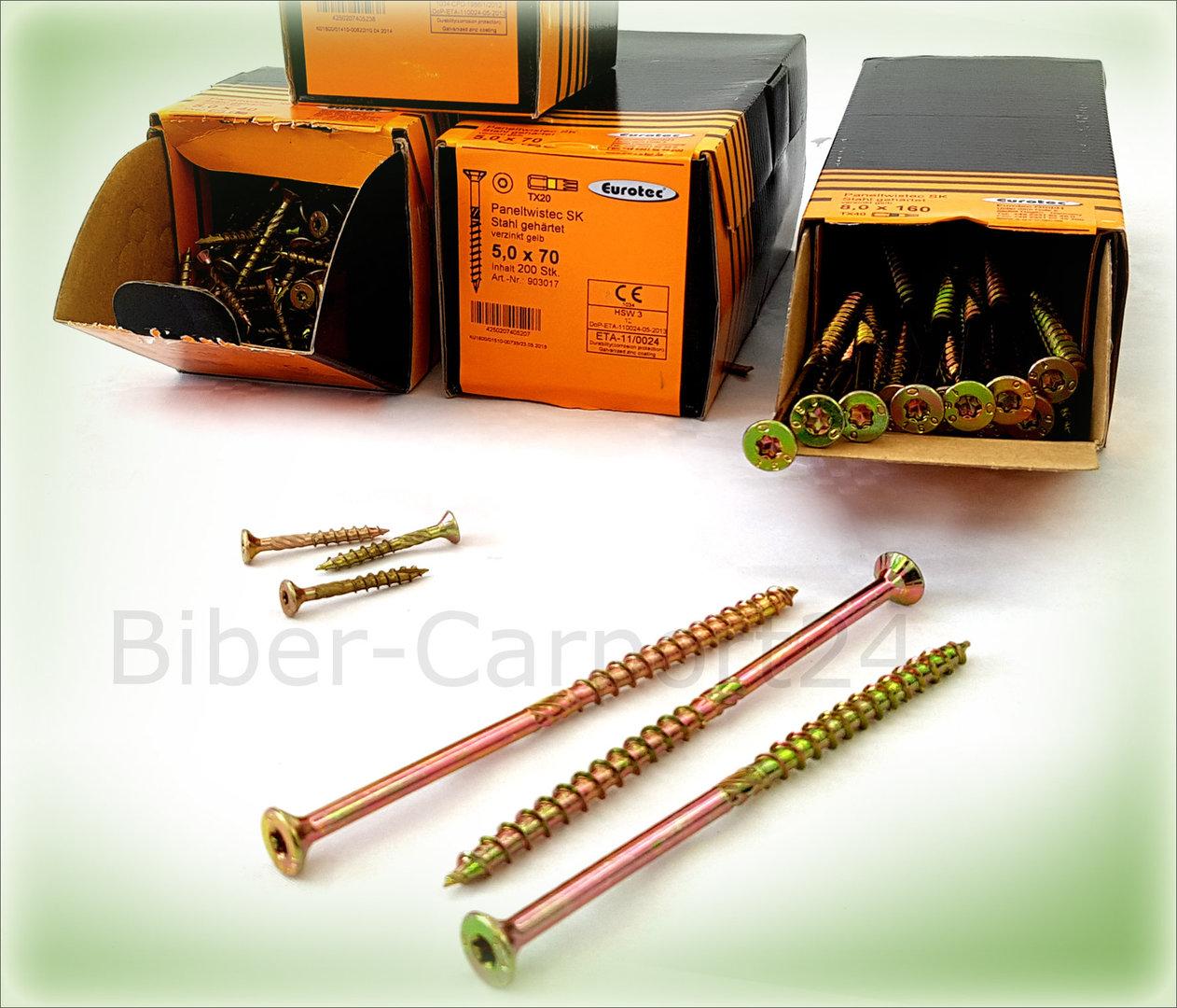 verzinkt gelb Paneltwistec TORX® 10x Spanplattenschraube 6x180 Senkkopf