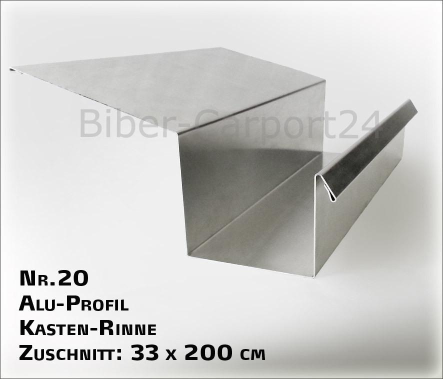Kastenrinne  Nr.20 Kastenrinne - ALU-Regenrinne 2m, 6 Abkantungen