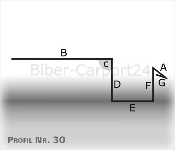 Kastenrinne  Nr.30 Kastenrinne-Regenrinne 2m, ALU oder Titanzink 5 Abkantungen