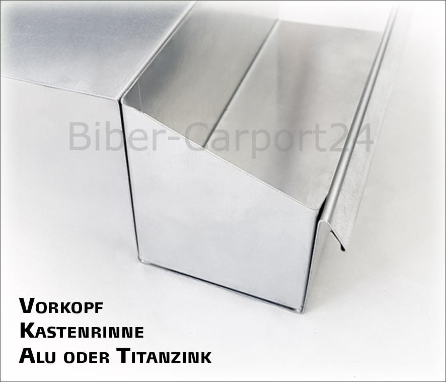Kastenrinne  Vorkopf-Endstück für Kastenrinne-Nr. 20, 30, 34 ALU, Titanzink