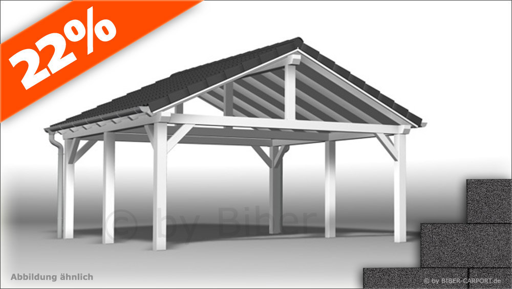bausatz 4 5 x 6 0m satteldach carport mit bitumenschindeln. Black Bedroom Furniture Sets. Home Design Ideas