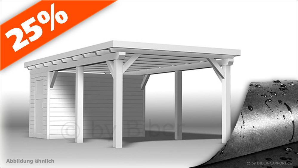 Bausatz 3,0 x 7,0m - Flachdachcarport mit EPDM + Geräteraum